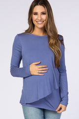 PinkBlush Blue Solid Layered Front Long Sleeve Maternity/Nursing Top