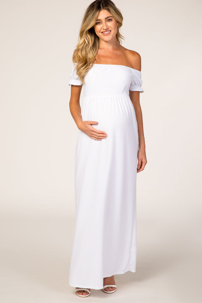 PinkBlush White Off Shoulder Textured Polka Dot Short Sleeve Maternity Maxi Dress