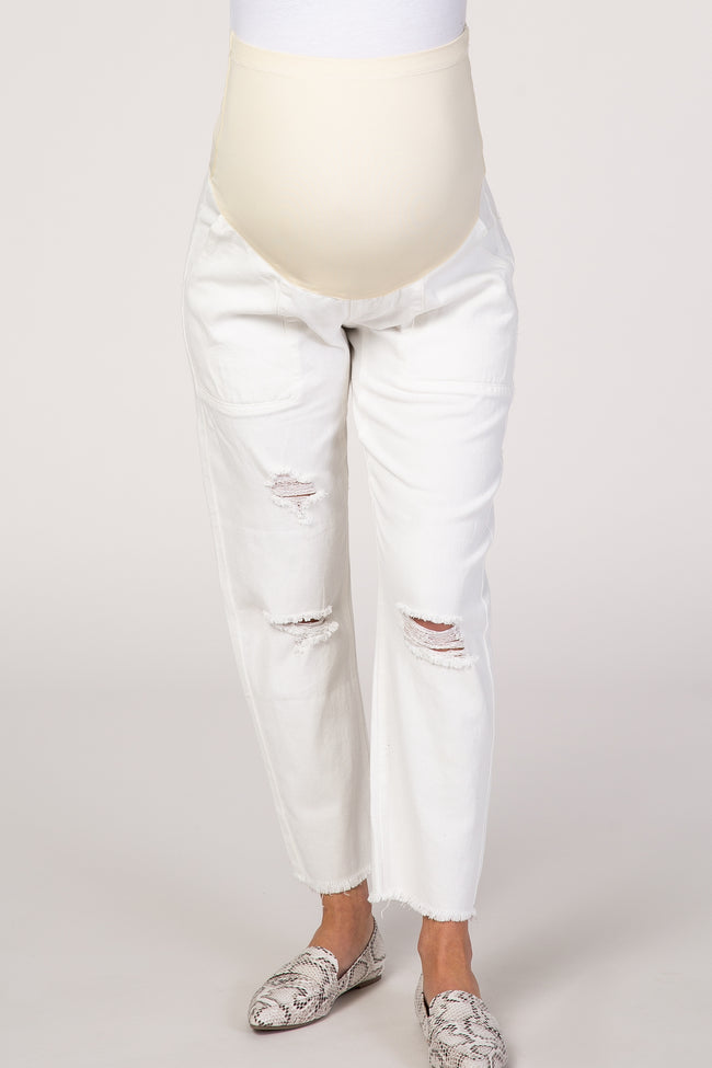 PinkBlush White Straight Leg Lightly Distressed Maternity Jeans