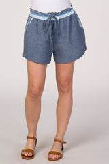 Blue Woven Smocked Contrasting Waist Shorts