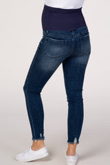 PinkBlush Blue Distressed Cropped Maternity Jeans