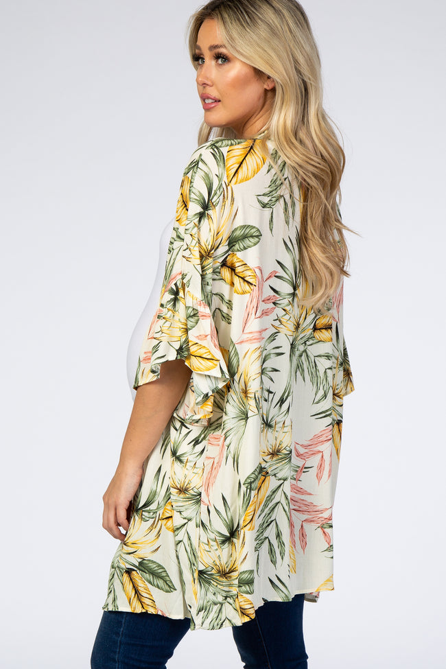 Cream Leaf Print Ruffle Sleeve Maternity Cover Up