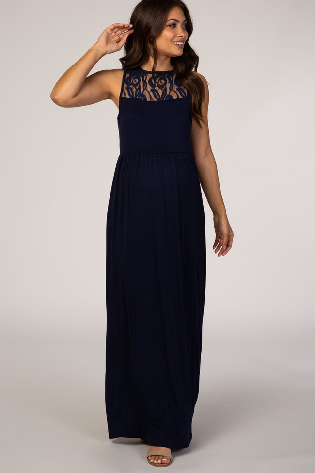 PinkBlush Navy Blue Sleeveless Lace Detail Maternity Maxi Dress