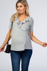 PinkBlush Heather Grey Soft Knit Flounce Trim Wrap Tie Maternity Top