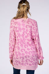 Waverleigh Pink Animal Print Maternity Cardigan