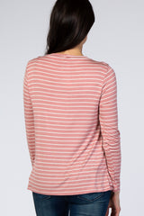 PinkBlush Mauve Striped Layered Front Long Sleeve Nursing Top