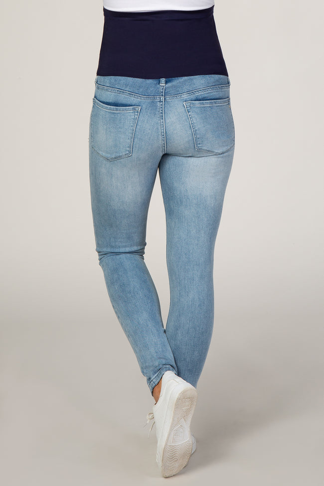 PinkBlush Blue Light Wash Maternity Skinny Jeans