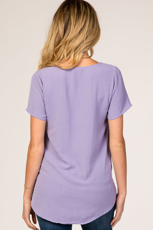 Lavender Button Tie Front Maternity Top