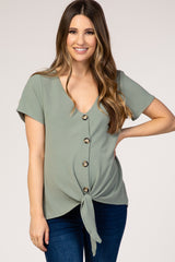 Green Button Tie Front Maternity Top