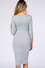 Grey 3/4 Sleeve Fitted Maternity Dress