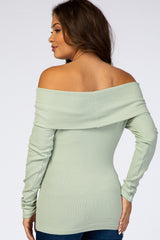 Mint Fold-Over Off Shoulder Ribbed Maternity Top