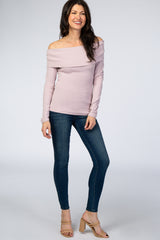 Mauve Fold-Over Off Shoulder Ribbed Top