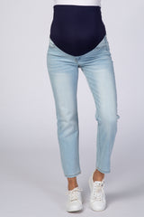 PinkBlush Light Blue Light Wash Straight Leg Maternity Jeans