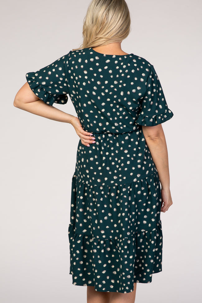 Forest Green Polka Dot Flutter Sleeve Tiered Maternity Dress