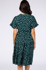 Forest Green Polka Dot Flutter Sleeve Tiered Dress