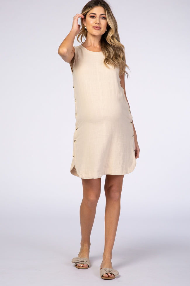 Waverleigh Taupe Round Neck Button Detail Maternity Shift Dress