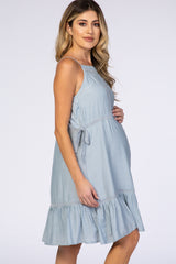 Light Blue Straight Neck Adjustable Strap Crochet Detail Maternity Dress