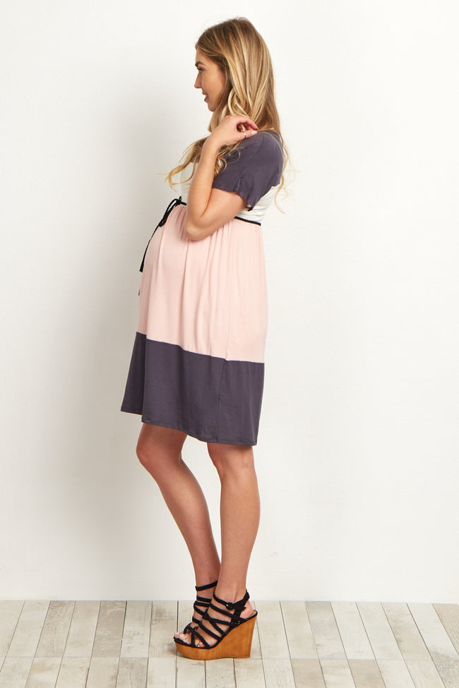 Pink Grey White Belted Maternity Dress