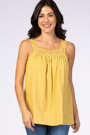 Yellow Square Neck Crochet Strap Top