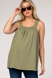 Olive Square Neck Crochet Strap Maternity Top