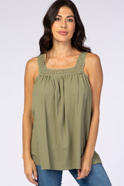 Olive Square Neck Crochet Strap Top