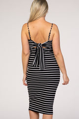 Black Striped Ribbed Tie Back Fitted Maternity Dress