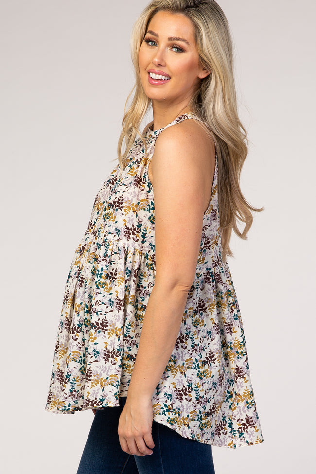 Ivory Floral High Neck Baby Doll Maternity Blouse