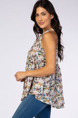 Ivory Floral High Neck Baby Doll Blouse