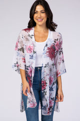 Ivory Floral Chiffon Side Slit Maternity Cover Up