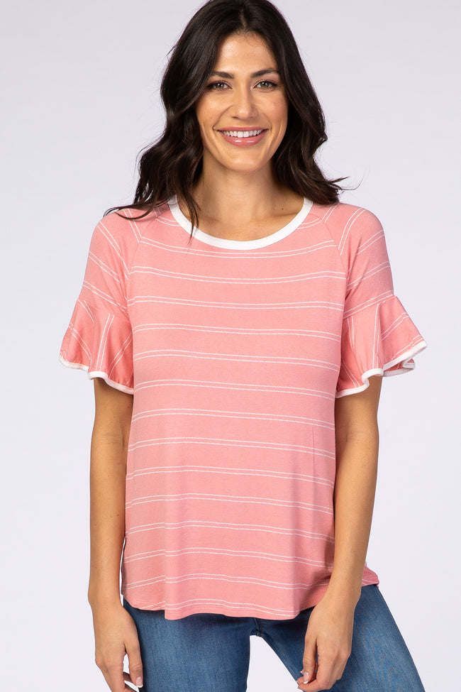 Pink Striped Ruffle Sleeve Top