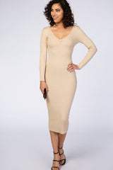 Waverleigh Taupe V-Neck Long Sleeve Fitted Maxi Dress