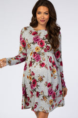 Heather Grey Floral Knit Long Sleeve Maternity Dress