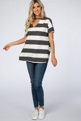 Charcoal Striped Cutout Front Dolman Sleeve Top