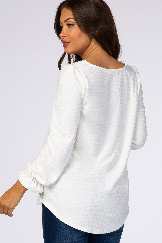 Ivory Swiss Dot Maternity Long Sleeve Top