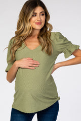 Light Olive Swiss Dot Puff Ruffle Short Sleeve Maternity Top