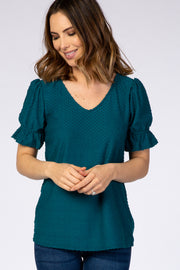 Teal Swiss Dot Puff Ruffle Short Sleeve Top