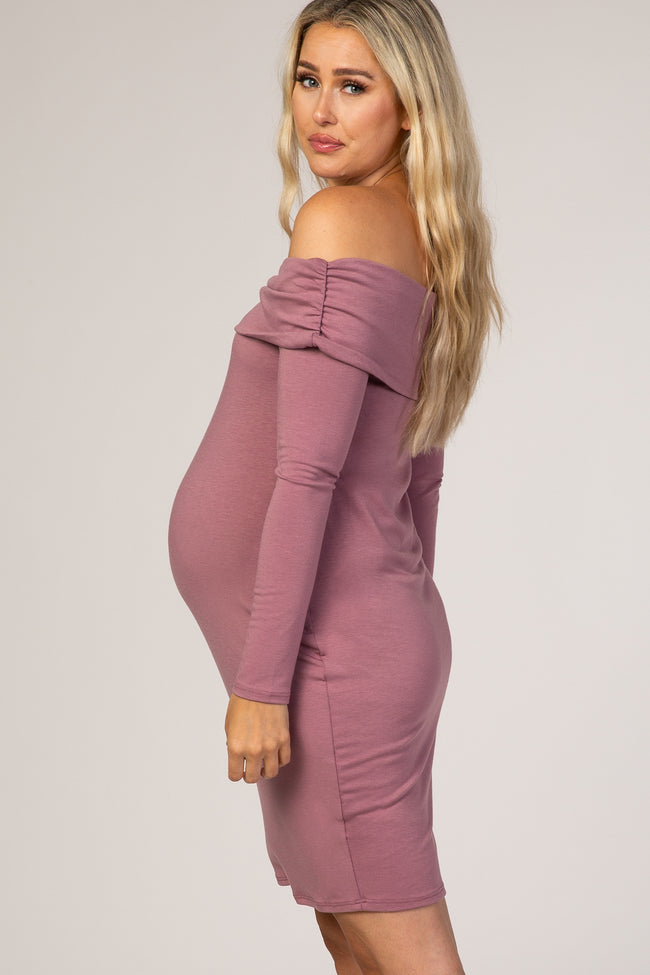 PinkBlush Mauve Fitted One Shoulder Maternity Dress
