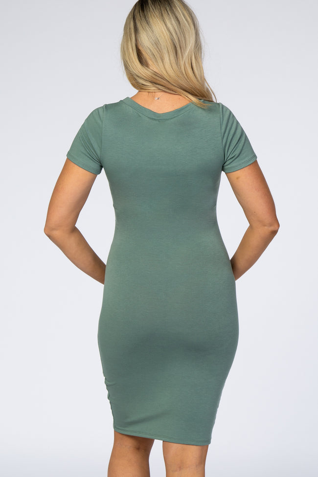 PinkBlush Sage Green Ruched Tulip Hem Maternity Dress