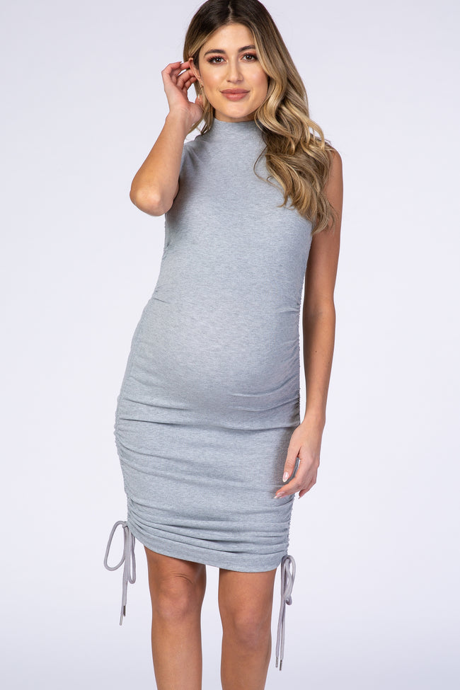 Waverleigh Grey Mock Neck Ruched Fitted Maternity Dress