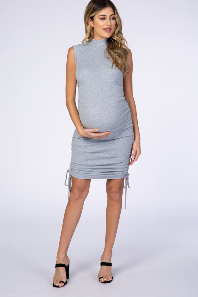 Grey Mock Neck Ruched Fitted Maternity Dress