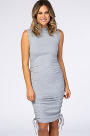 Waverleigh Grey Mock Neck Ruched Fitted Dress