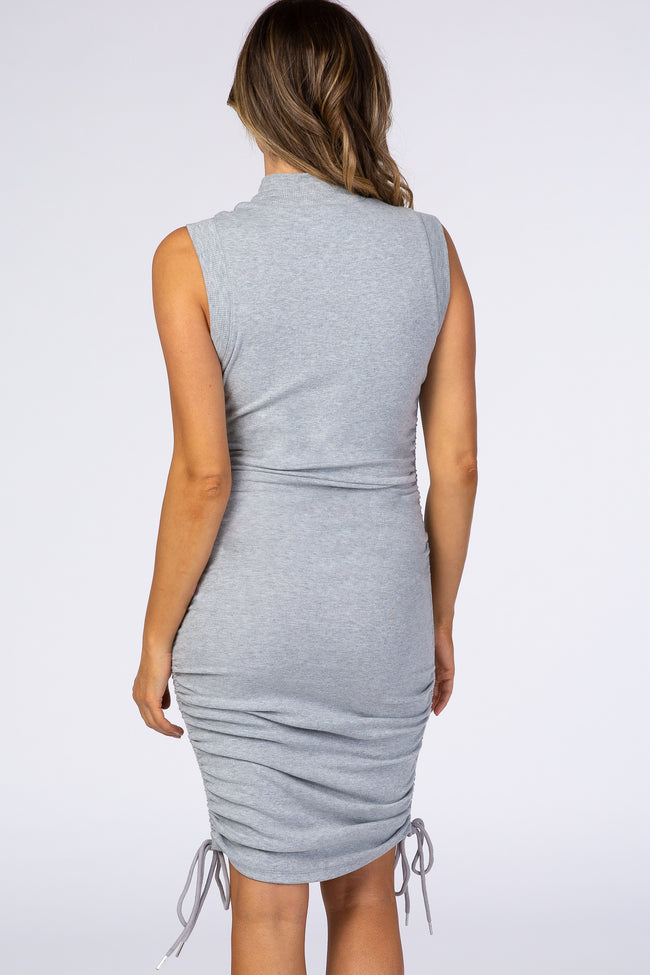 Grey Mock Neck Ruched Fitted Dress