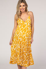Yellow Printed Pleated Cami Strap Maternity Midi Dress