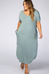 Green V-Neck Short Sleeve Maternity Plus Maxi Dress