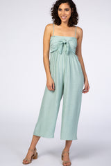 Mint Tie Front Crochet Trim Cropped Jumpsuit