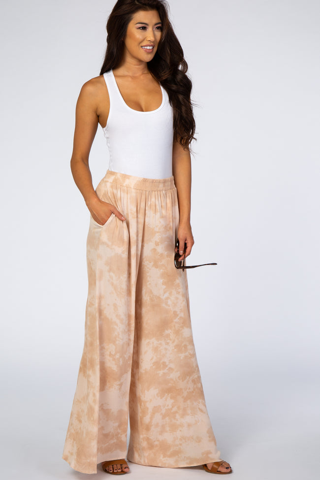 Waverleigh Peach Tie Dyed Wide Leg Pants