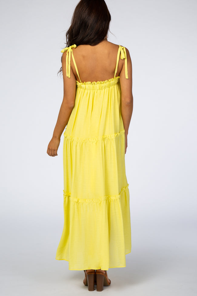 Yellow Tie Strap Ruffle Maxi Dress