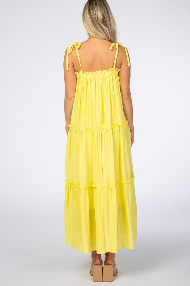 Yellow Tie Strap Ruffle Maternity Maxi Dress