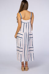 White Striped Thick Strap Maternity Maxi Dress