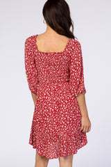 Waverleigh Red Floral 3/4 Bell Sleeve Smocked Square Neck Dress